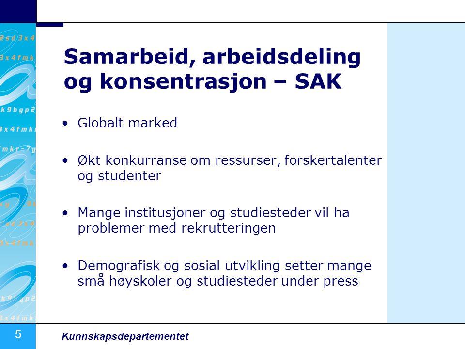 5 Kunnskapsdepartementet Samarbeid, arbeidsdeling og konsentrasjon – SAK •Globalt marked •Økt konkurranse om ressurser, forskertalenter og studenter •