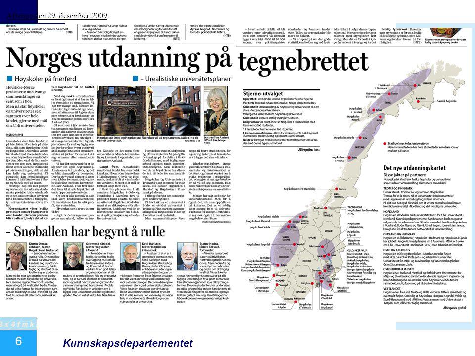 6 Kunnskapsdepartementet Aftenposten 29. desember 2009