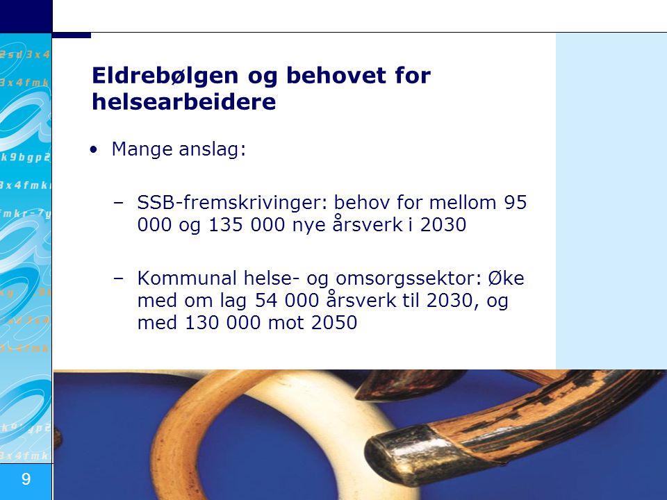 9 Kunnskapsdepartementet Eldrebølgen og behovet for helsearbeidere •Mange anslag: –SSB-fremskrivinger: behov for mellom 95 000 og 135 000 nye årsverk