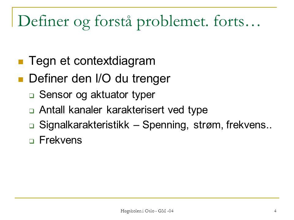 Høgskolen i Oslo - GM -04 4 Definer og forstå problemet.