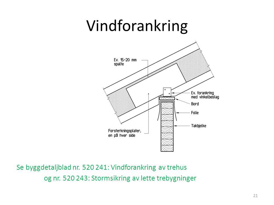 Vindforankring Se byggdetaljblad nr. 520 241: Vindforankring av trehus og nr. 520 243: Stormsikring av lette trebygninger 21