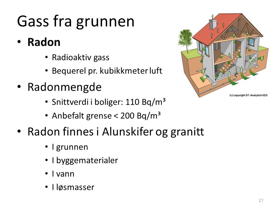 Gass fra grunnen • Radon • Radioaktiv gass • Bequerel pr. kubikkmeter luft • Radonmengde • Snittverdi i boliger: 110 Bq/m³ • Anbefalt grense < 200 Bq/