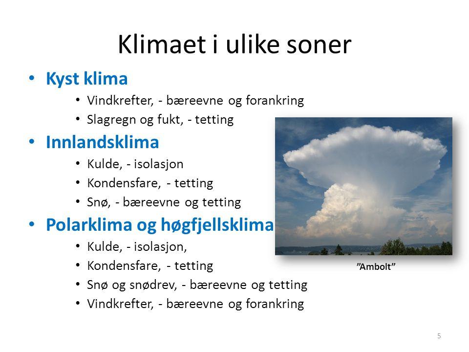 Klimaet i ulike soner • Kyst klima • Vindkrefter, - bæreevne og forankring • Slagregn og fukt, - tetting • Innlandsklima • Kulde, - isolasjon • Konden