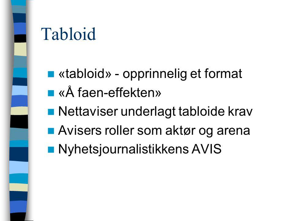 Tabloid  «tabloid» - opprinnelig et format  «Å faen-effekten»  Nettaviser underlagt tabloide krav  Avisers roller som aktør og arena  Nyhetsjourn