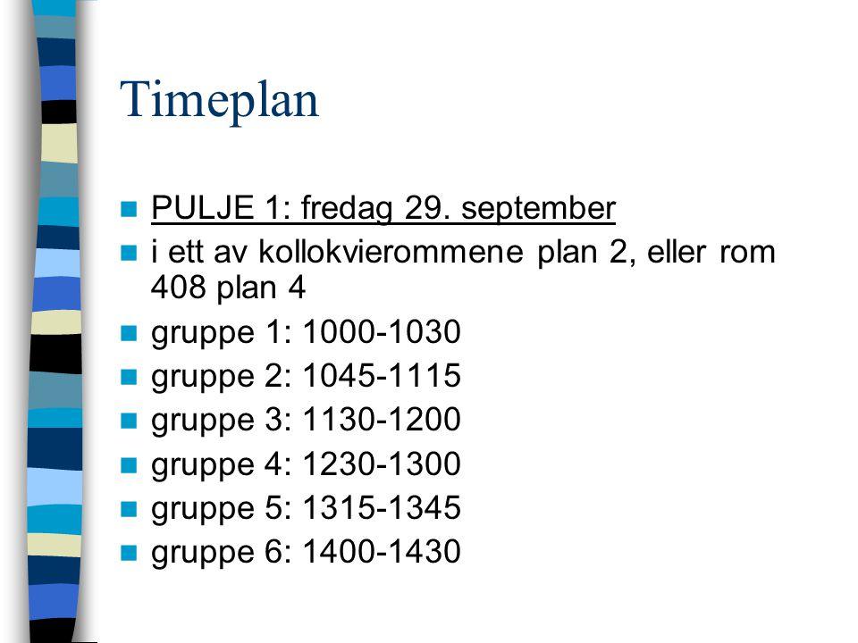 Timeplan  PULJE 1: fredag 29. september  i ett av kollokvierommene plan 2, eller rom 408 plan 4  gruppe 1: 1000-1030  gruppe 2: 1045-1115  gruppe