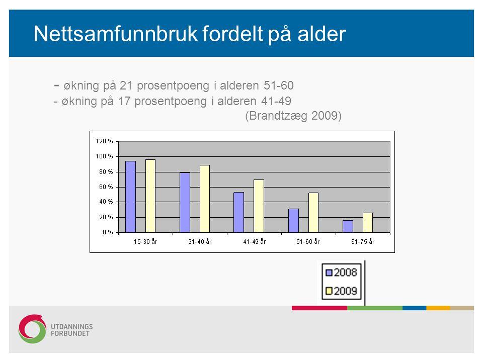 Nettsamfunnbruk fordelt på alder - økning på 21 prosentpoeng i alderen 51-60 - økning på 17 prosentpoeng i alderen 41-49 (Brandtzæg 2009)