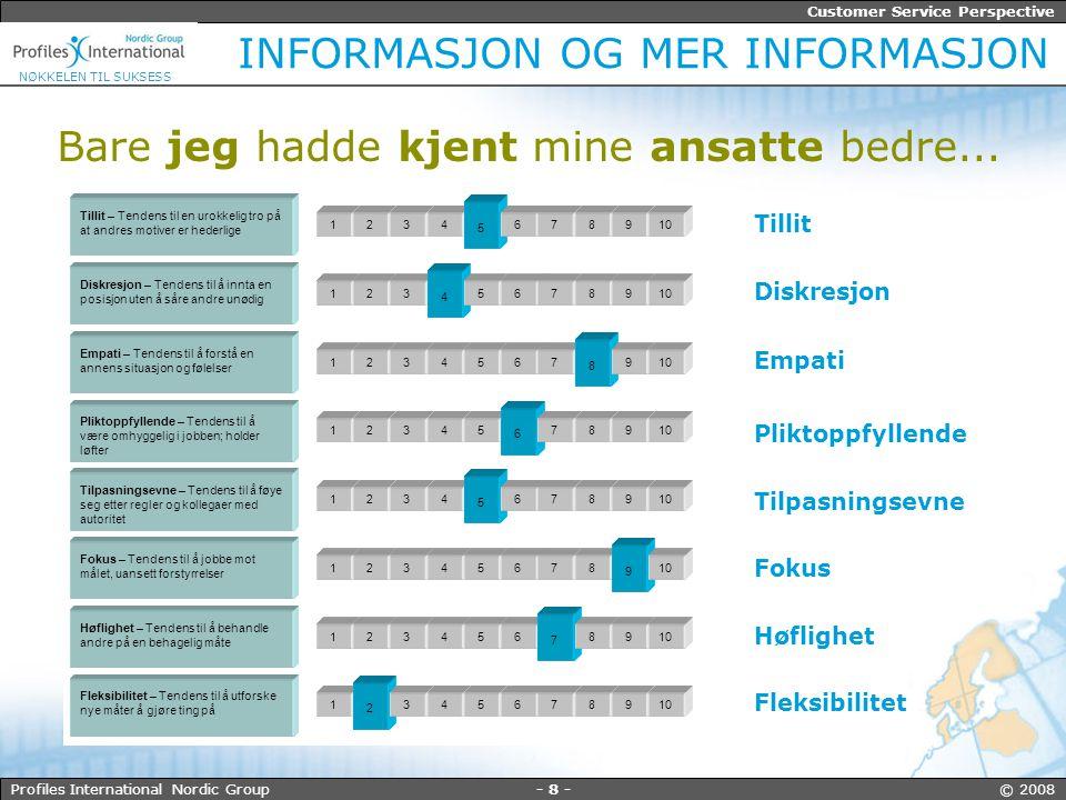 - 9 - © 2008Profiles International Nordic Group Customer Service Perspective NØKKELEN TIL SUKSESS HVA MER.