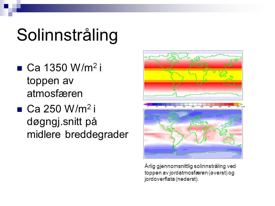 Solinnstråling  Ca 1350 W/m 2 i toppen av atmosfæren  Ca 250 W/m 2 i døgngj.snitt på midlere breddegrader Årlig gjennomsnittlig solinnstråling ved t