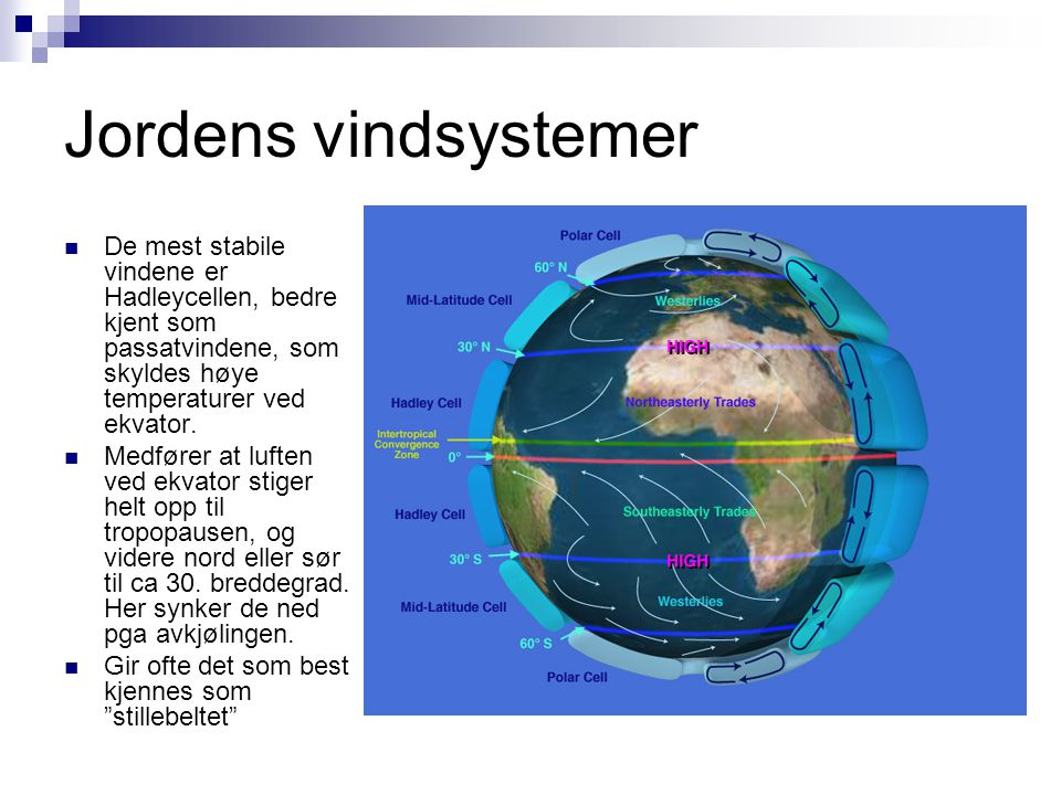 Jordens vindsystemer  De mest stabile vindene er Hadleycellen, bedre kjent som passatvindene, som skyldes høye temperaturer ved ekvator.  Medfører a