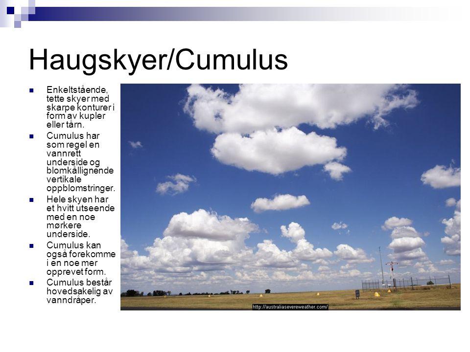 Haugskyer/Cumulus  Enkeltstående, tette skyer med skarpe konturer i form av kupler eller tårn.  Cumulus har som regel en vannrett underside og blomk