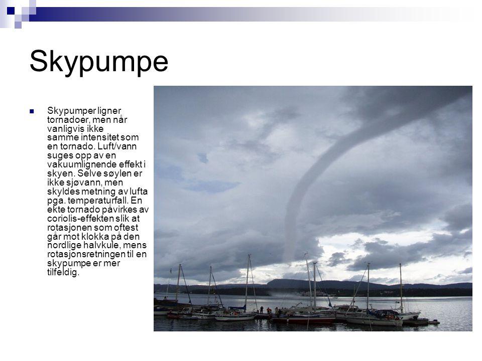 Skypumpe  Skypumper ligner tornadoer, men når vanligvis ikke samme intensitet som en tornado. Luft/vann suges opp av en vakuumlignende effekt i skyen