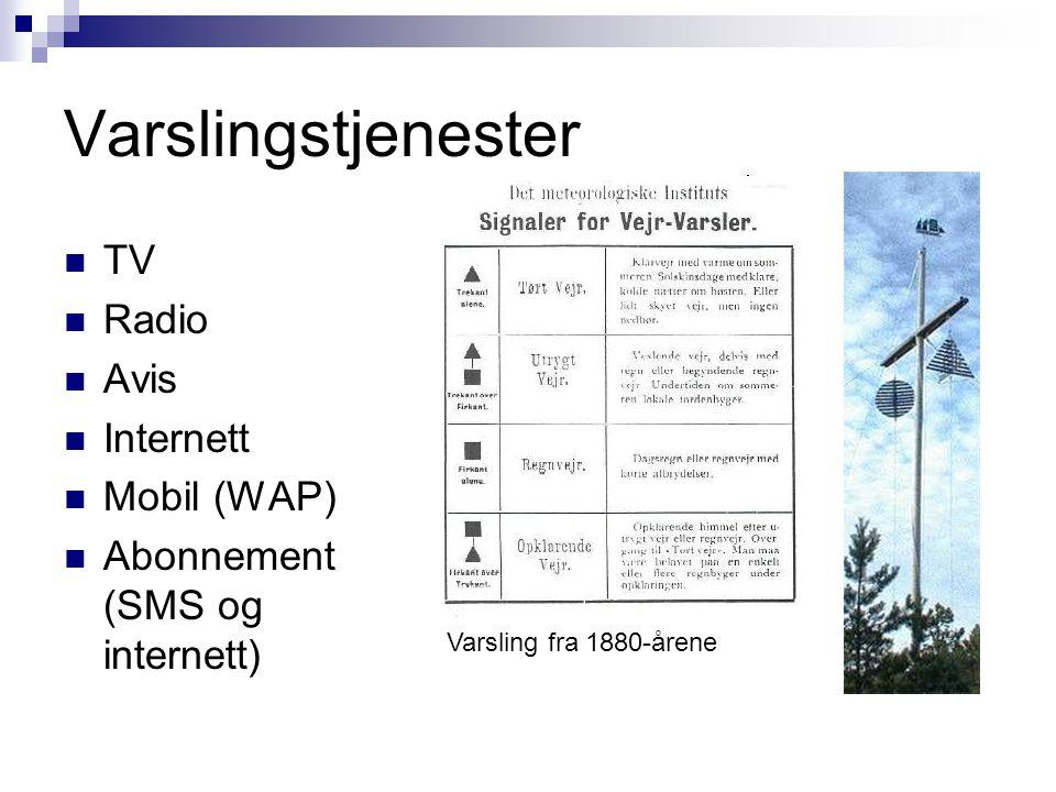 Varslingstjenester  TV  Radio  Avis  Internett  Mobil (WAP)  Abonnement (SMS og internett) Varsling fra 1880-årene