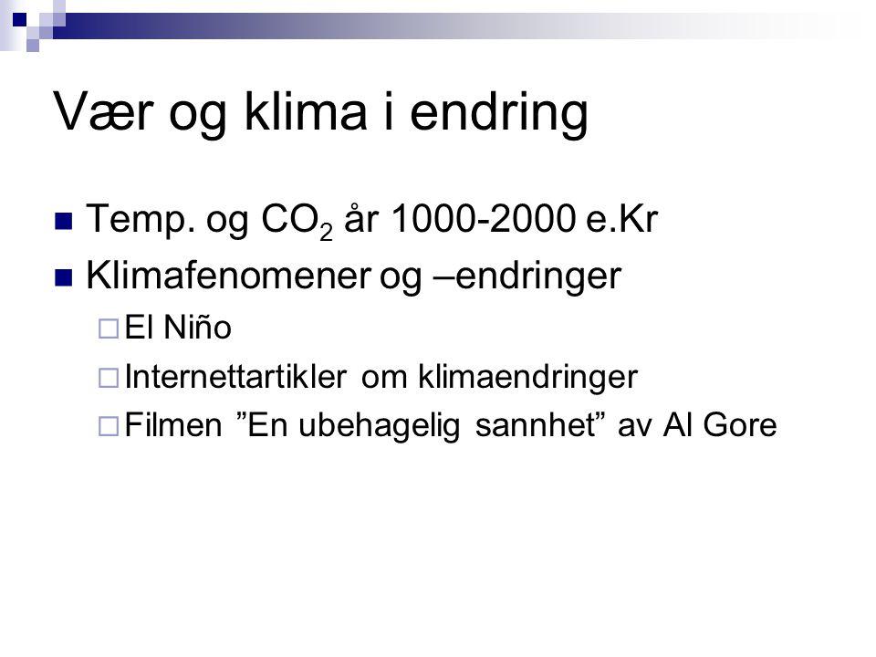 """Vær og klima i endring  Temp. og CO 2 år 1000-2000 e.Kr  Klimafenomener og –endringer  El Niño  Internettartikler om klimaendringer  Filmen """"En u"""