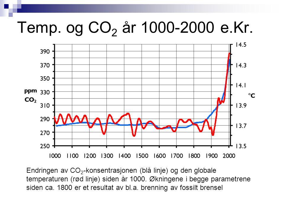 Temp. og CO 2 år 1000-2000 e.Kr. Endringen av CO 2 -konsentrasjonen (blå linje) og den globale temperaturen (rød linje) siden år 1000. Økningene i beg