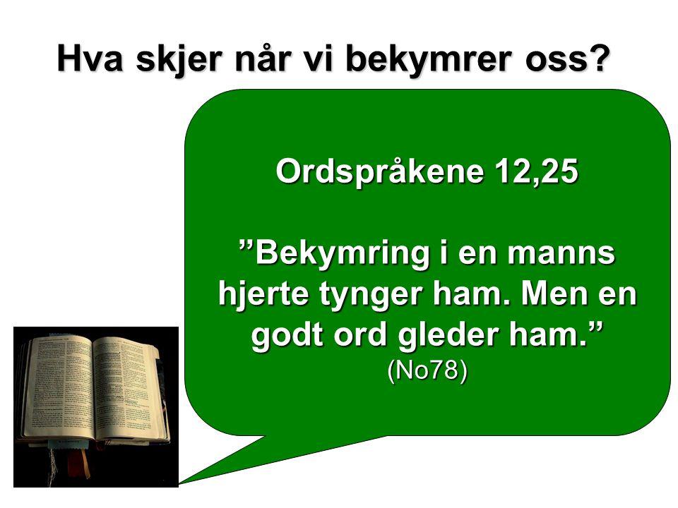 """Ordspråkene 12,25 """"Bekymring i en manns hjerte tynger ham. Men en godt ord gleder ham."""" (No78)"""