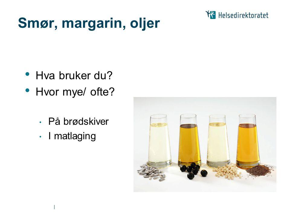   Smør, margarin, oljer • Hva bruker du? • Hvor mye/ ofte? • På brødskiver • I matlaging