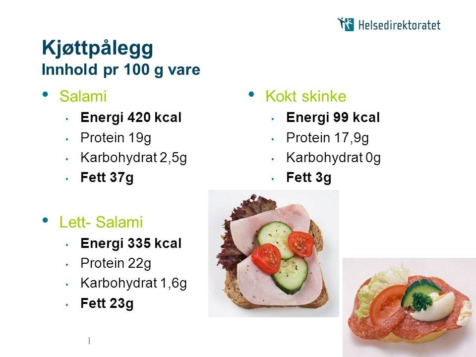   Kjøttpålegg Innhold pr 100 g vare • Salami • Energi 420 kcal • Protein 19g • Karbohydrat 2,5g • Fett 37g • Lett- Salami • Energi 335 kcal • Protein 22g • Karbohydrat 1,6g • Fett 23g • Kokt skinke • Energi 99 kcal • Protein 17,9g • Karbohydrat 0g • Fett 3g