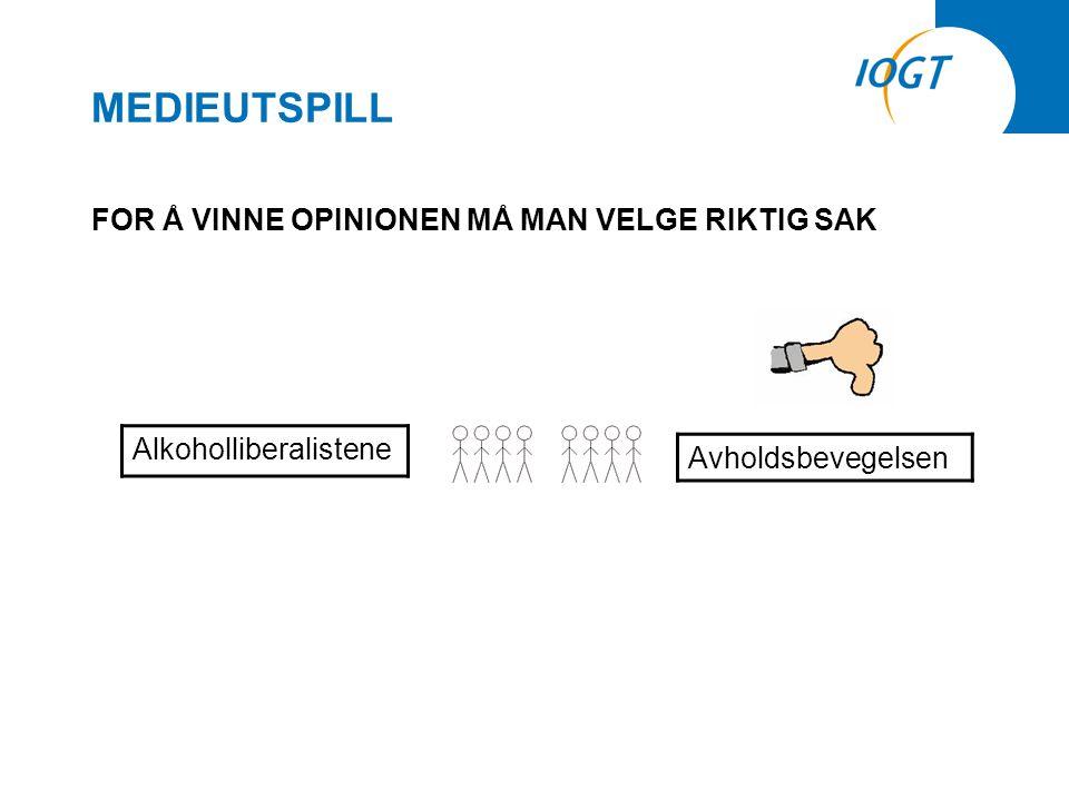 MEDIEUTSPILL FOR Å VINNE OPINIONEN MÅ MAN VELGE RIKTIG SAK Alkoholliberalistene Avholdsbevegelsen