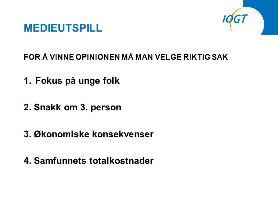 MEDIEUTSPILL FOR Å VINNE OPINIONEN MÅ MAN VELGE RIKTIG SAK 1.Fokus på unge folk 2.