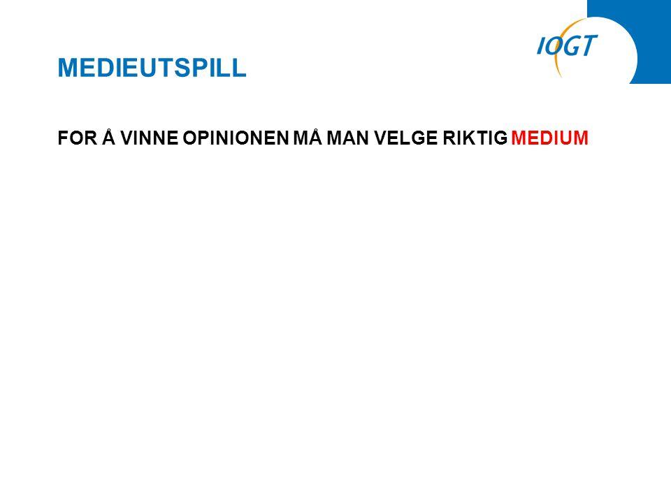 MEDIEUTSPILL FOR Å VINNE OPINIONEN MÅ MAN VELGE RIKTIG MEDIUM