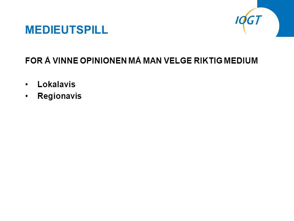 MEDIEUTSPILL FOR Å VINNE OPINIONEN MÅ MAN VELGE RIKTIG MEDIUM •Lokalavis •Regionavis