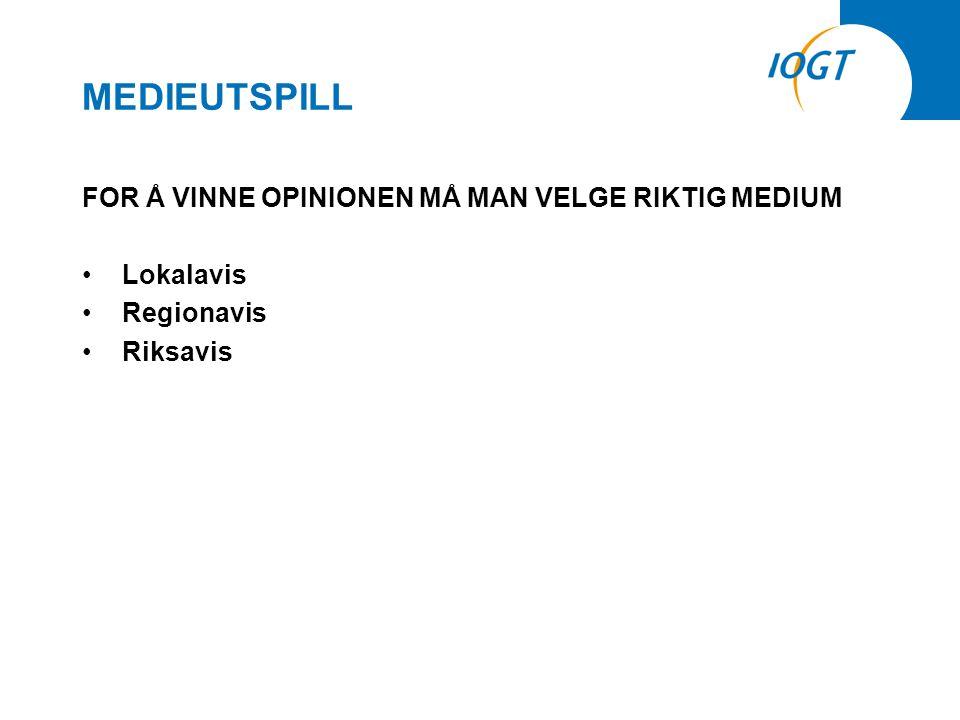 MEDIEUTSPILL FOR Å VINNE OPINIONEN MÅ MAN VELGE RIKTIG MEDIUM •Lokalavis •Regionavis •Riksavis