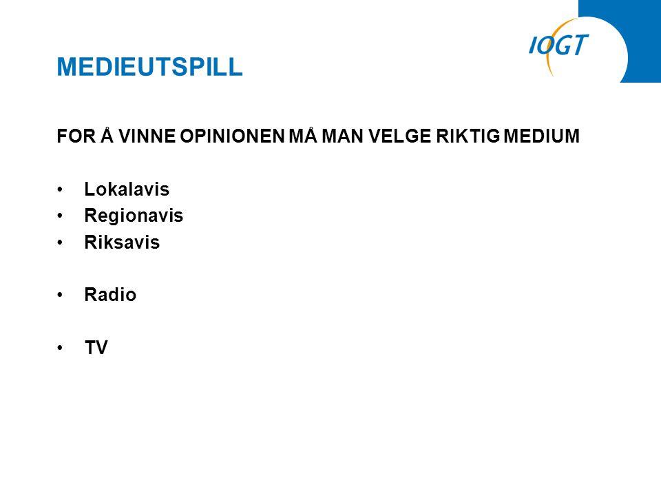 MEDIEUTSPILL FOR Å VINNE OPINIONEN MÅ MAN VELGE RIKTIG MEDIUM •Lokalavis •Regionavis •Riksavis •Radio •TV