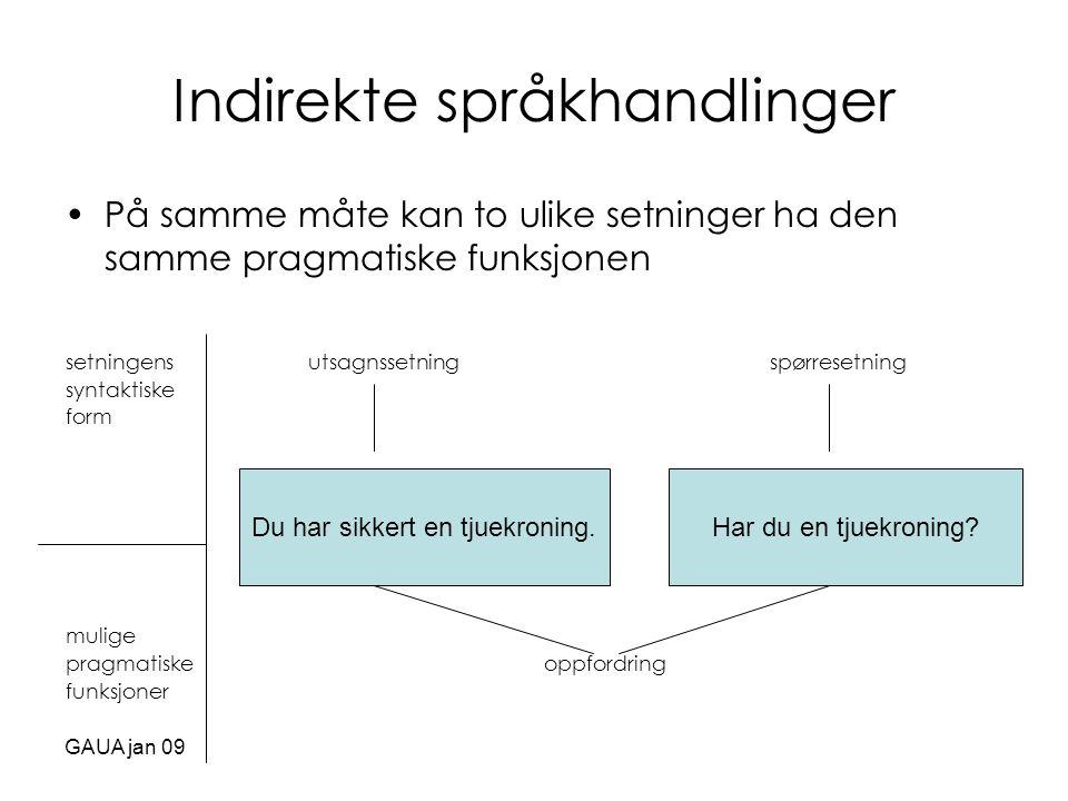 GAUA jan 09 Indirekte språkhandlinger •På samme måte kan to ulike setninger ha den samme pragmatiske funksjonen setningens utsagnssetning spørresetnin