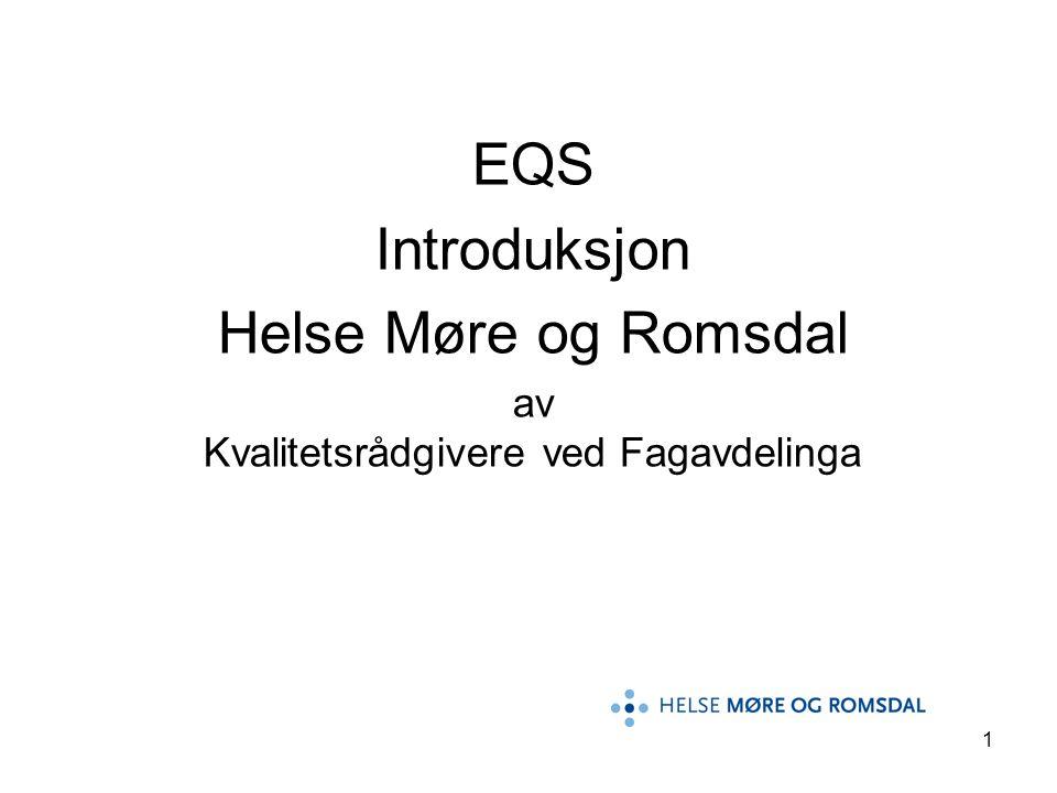 2 Innledning •EQS står for Extend quality system •EQS er et elektronisk kvalitetssystem hvor en kan legge inn pasientforløp, prosedyrer, retningslinjer, avdelingsportaler og div.