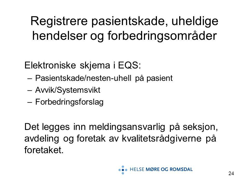 24 Registrere pasientskade, uheldige hendelser og forbedringsområder Elektroniske skjema i EQS: –Pasientskade/nesten-uhell på pasient –Avvik/Systemsvi