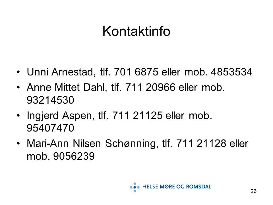 26 Kontaktinfo •Unni Arnestad, tlf. 701 6875 eller mob. 4853534 •Anne Mittet Dahl, tlf. 711 20966 eller mob. 93214530 •Ingjerd Aspen, tlf. 711 21125 e