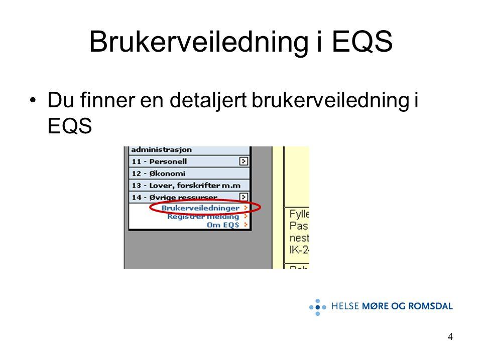 4 Brukerveiledning i EQS •Du finner en detaljert brukerveiledning i EQS