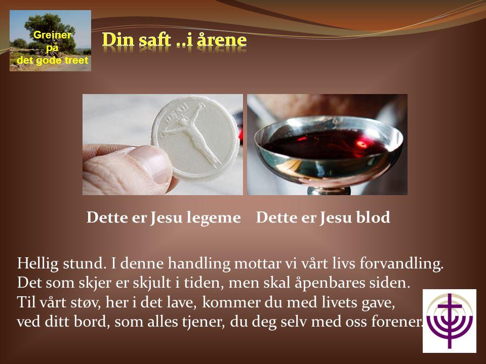 Dette er Jesu legeme Greiner på det gode treet Dette er Jesu blod Hellig stund.