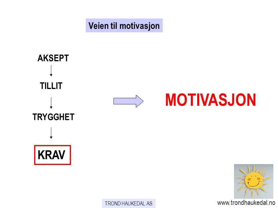 TROND HAUKEDAL AS www.trondhaukedal.no Veien til motivasjon MOTIVASJON KRAV AKSEPT TILLIT TRYGGHET
