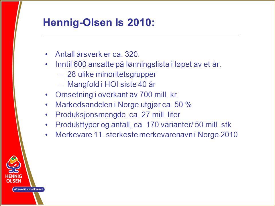 Hennig-Olsen Is 2010: •Antall årsverk er ca.320.