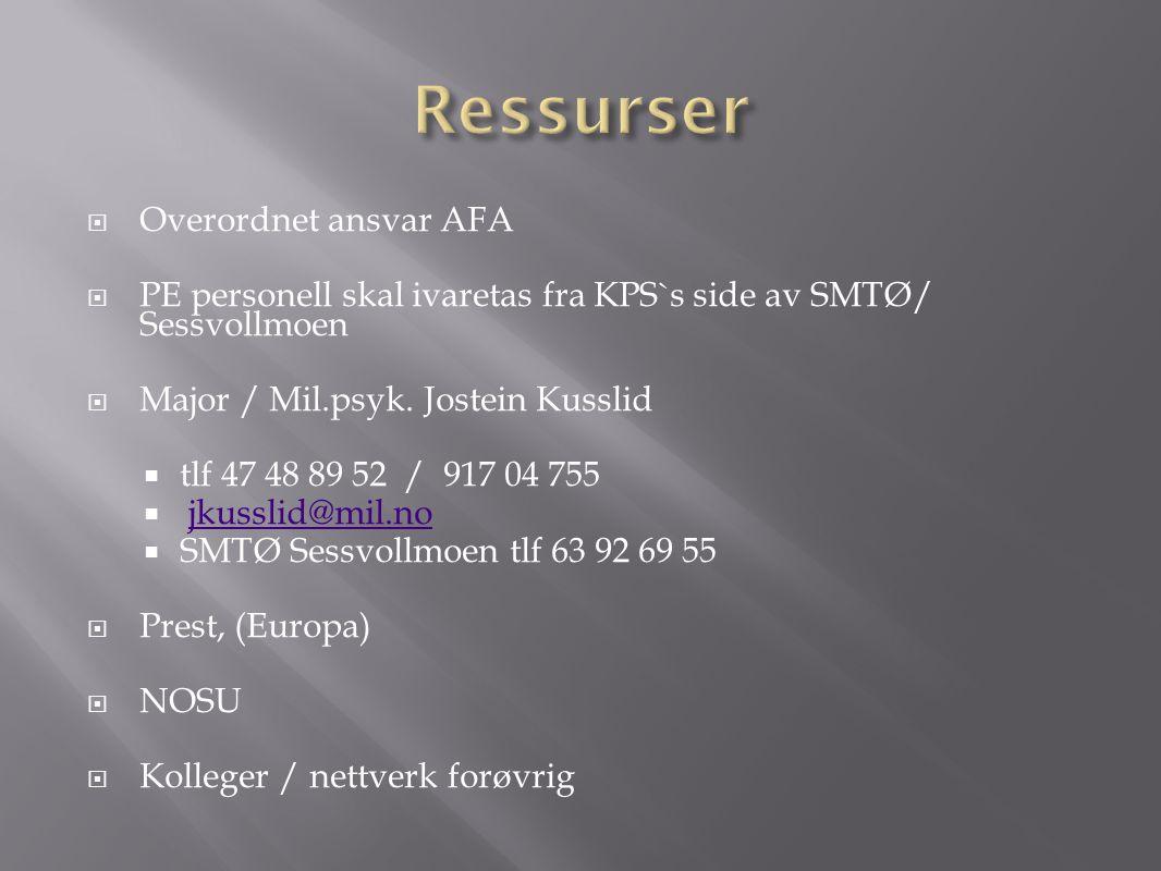  Overordnet ansvar AFA  PE personell skal ivaretas fra KPS`s side av SMTØ/ Sessvollmoen  Major / Mil.psyk. Jostein Kusslid  tlf 47 48 89 52 / 917