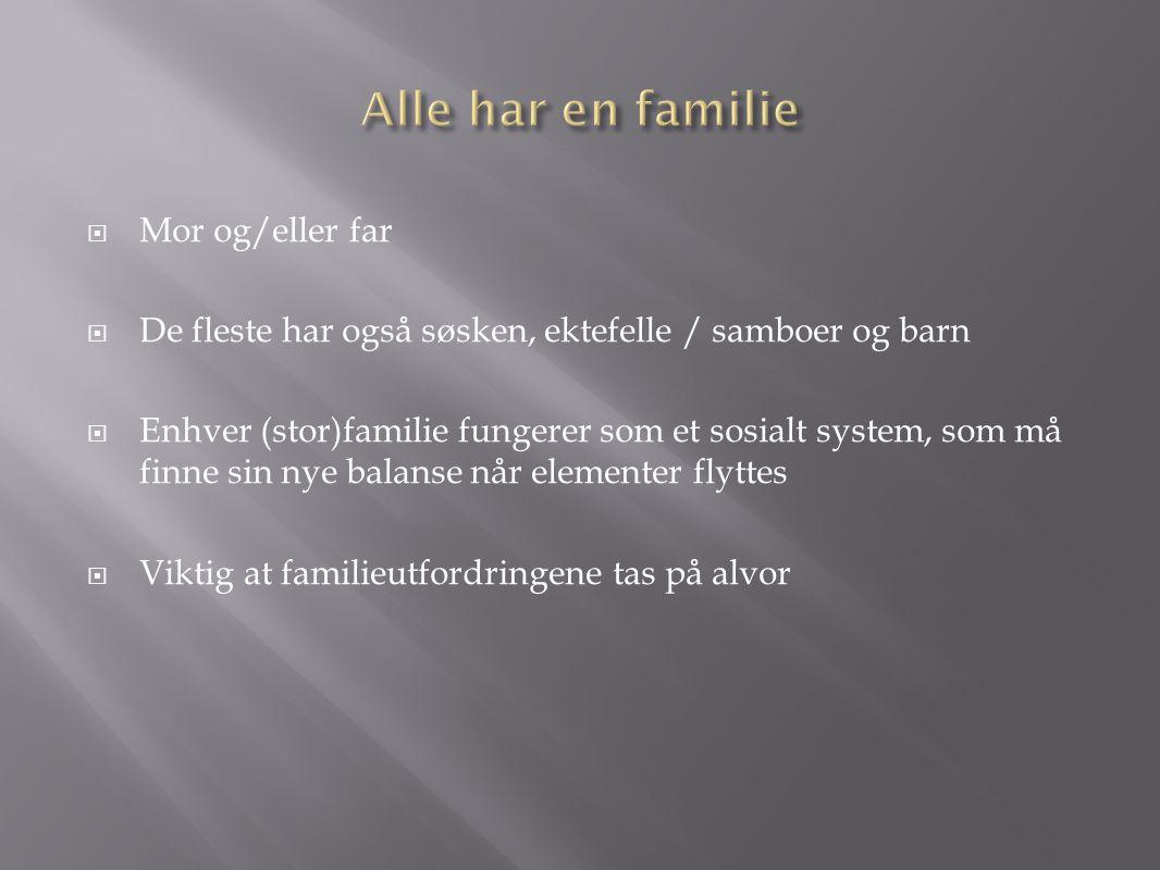  Mor og/eller far  De fleste har også søsken, ektefelle / samboer og barn  Enhver (stor)familie fungerer som et sosialt system, som må finne sin ny