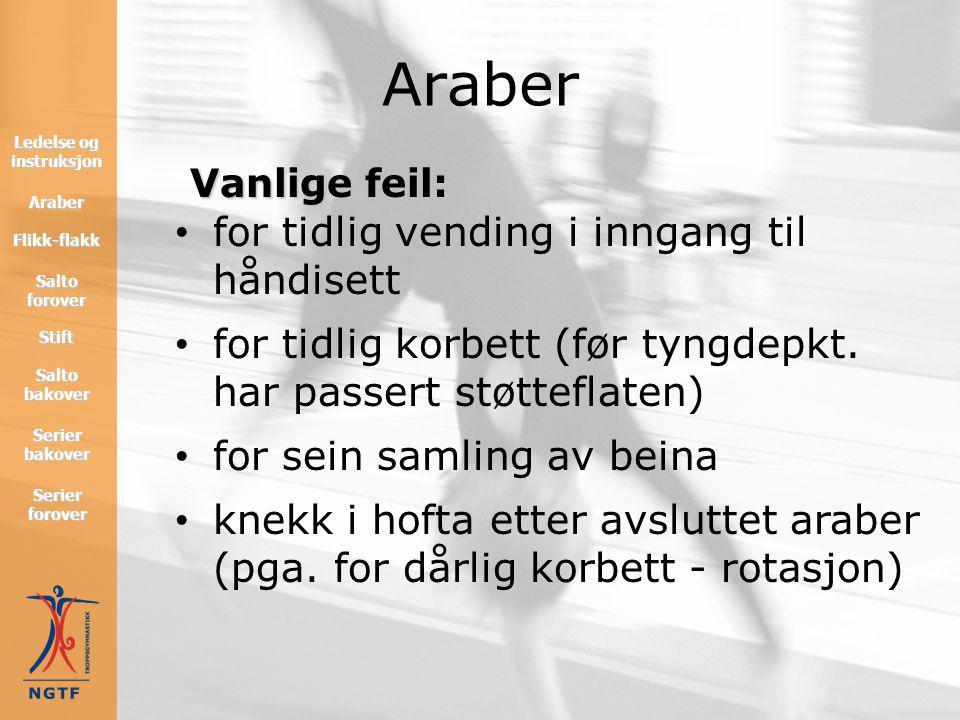 Araber Vanlige feil: Vanlige feil: • lavt, subbende hinkehopp • feil plassering av håndisettet • svai (korsrygg og i brystet) • vinkel i skuldre ved h