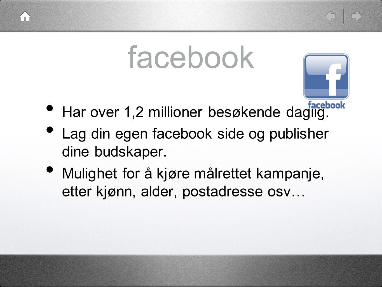 facebook • Har over 1,2 millioner besøkende daglig.