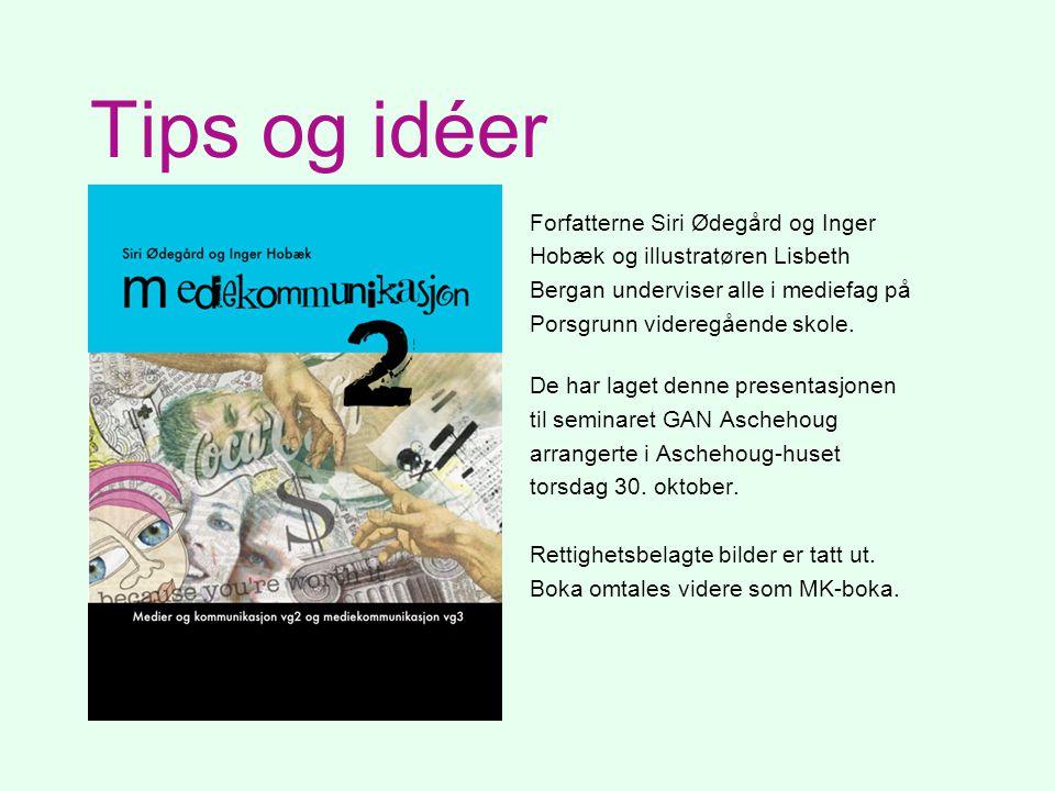 Tips og idéer Forfatterne Siri Ødegård og Inger Hobæk og illustratøren Lisbeth Bergan underviser alle i mediefag på Porsgrunn videregående skole. De h