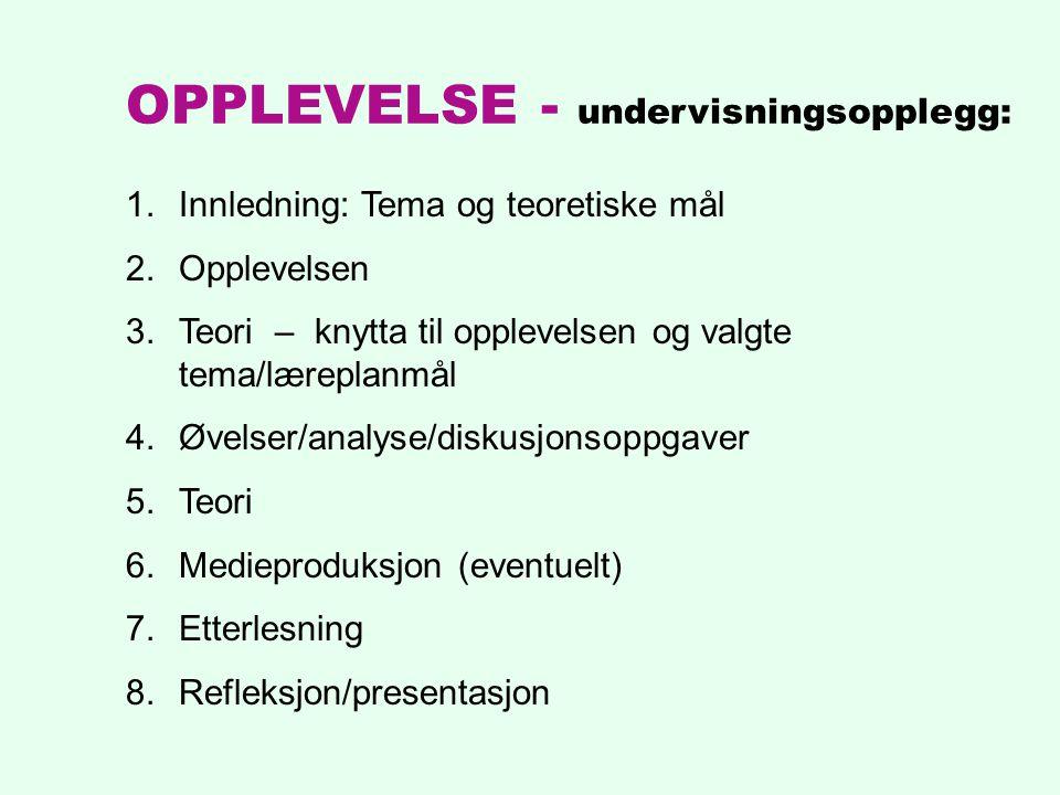 1.Innledning: Tema og teoretiske mål 2.Opplevelsen 3.Teori – knytta til opplevelsen og valgte tema/læreplanmål 4.Øvelser/analyse/diskusjonsoppgaver 5.