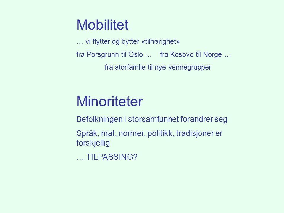 Mobilitet … vi flytter og bytter «tilhørighet» fra Porsgrunn til Oslo … fra Kosovo til Norge … fra storfamlie til nye vennegrupper Minoriteter Befolkn