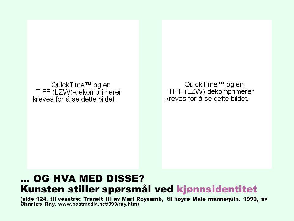 … OG HVA MED DISSE? Kunsten stiller spørsmål ved kjønnsidentitet (side 124, til venstre: Transit III av Mari Røysamb, til høyre Male mannequin, 1990,