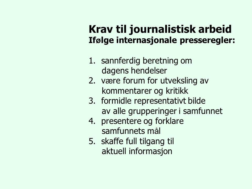 Krav til journalistisk arbeid If ø lge internasjonale presseregler: 1.sannferdig beretning om dagens hendelser 2.v æ re forum for utveksling av kommen