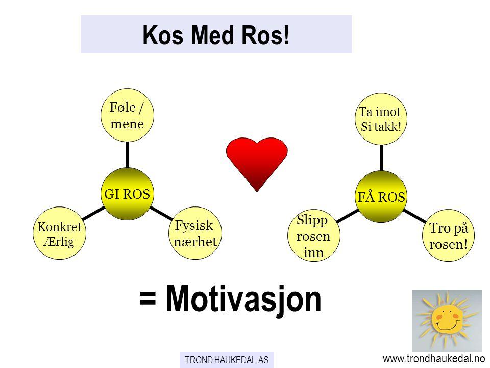 Kos Med Ros! GI ROS Føle / mene Fysisk nærhet Konkret Ærlig FÅ ROS Ta imot Si takk! Tro på rosen! Slipp rosen inn = Motivasjon www.trondhaukedal.no TR