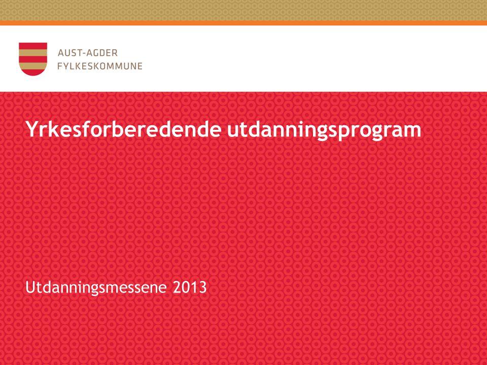 Yrkesforberedende utdanningsprogram Utdanningsmessene 2013