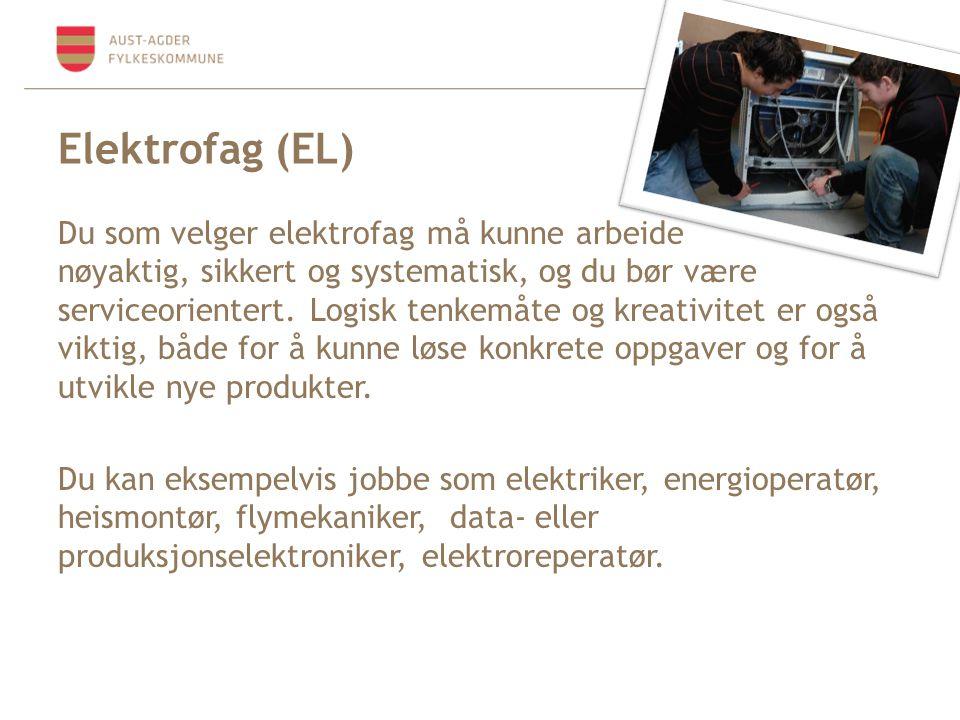 Elektrofag (EL) Du som velger elektrofag må kunne arbeide nøyaktig, sikkert og systematisk, og du bør være serviceorientert. Logisk tenkemåte og kreat