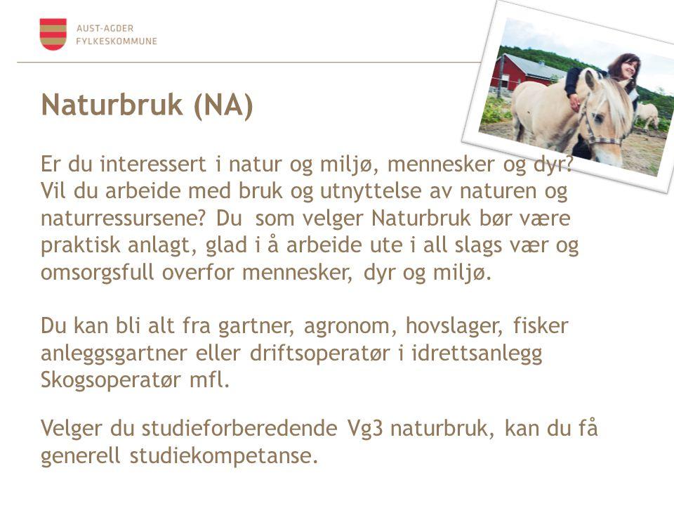 Naturbruk (NA) Er du interessert i natur og miljø, mennesker og dyr? Vil du arbeide med bruk og utnyttelse av naturen og naturressursene? Du som velge