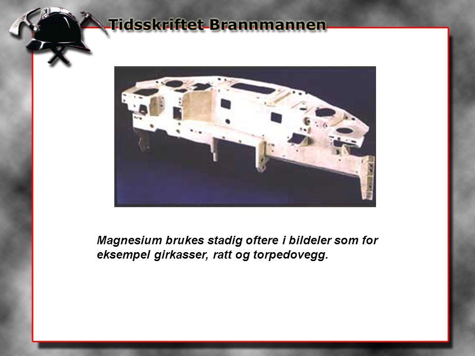 Magnesium brukes stadig oftere i bildeler som for eksempel girkasser, ratt og torpedovegg.