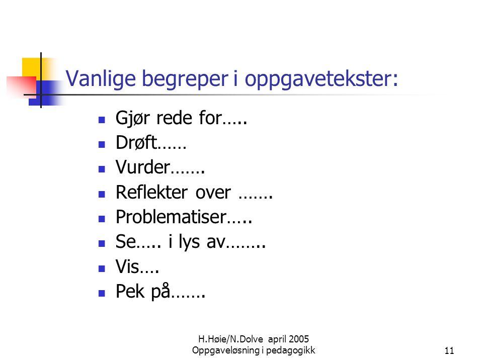H.Høie/N.Dolve april 2005 Oppgaveløsning i pedagogikk11 Vanlige begreper i oppgavetekster:  Gjør rede for…..  Drøft……  Vurder…….  Reflekter over …